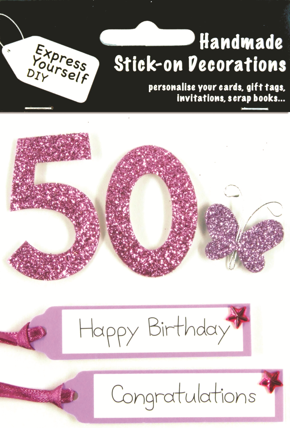 Pink 50th Birthday DIY Greeting Card Toppers