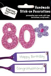 Pink 80th Birthday DIY Greeting Card Toppers