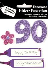 Pink 90th Birthday DIY Greeting Card Toppers