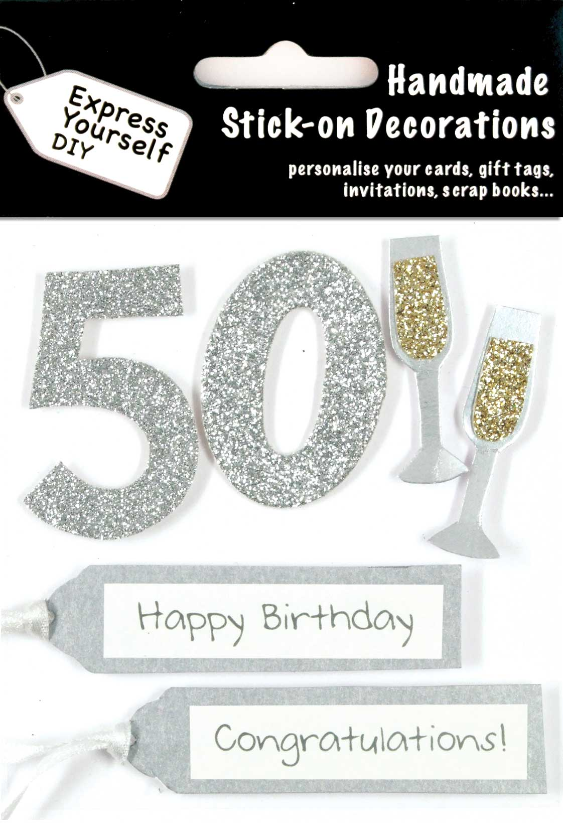 Silver 50th birthday diy greeting card toppers birthday cards silver 50th birthday diy greeting card toppers bookmarktalkfo Gallery