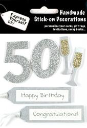 Silver 50th Birthday DIY Greeting Card Toppers