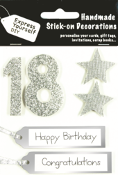 Silver 18th Birthday DIY Greeting Card Toppers
