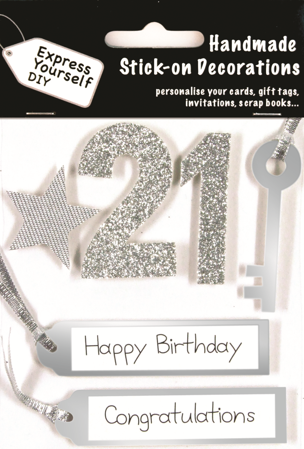 Silver 21st Birthday DIY Greeting Card Toppers