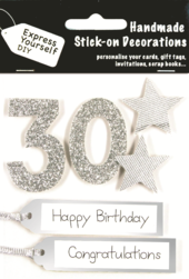 Silver 30th Birthday DIY Greeting Card Toppers
