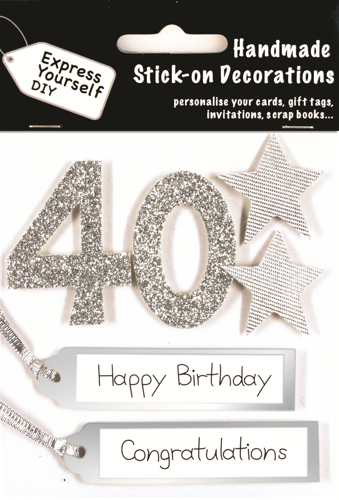 Silver 40th Birthday DIY Greeting Card Toppers