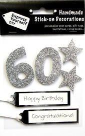 Silver 60th Birthday DIY Greeting Card Toppers