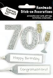 Silver 70th Birthday DIY Greeting Card Toppers