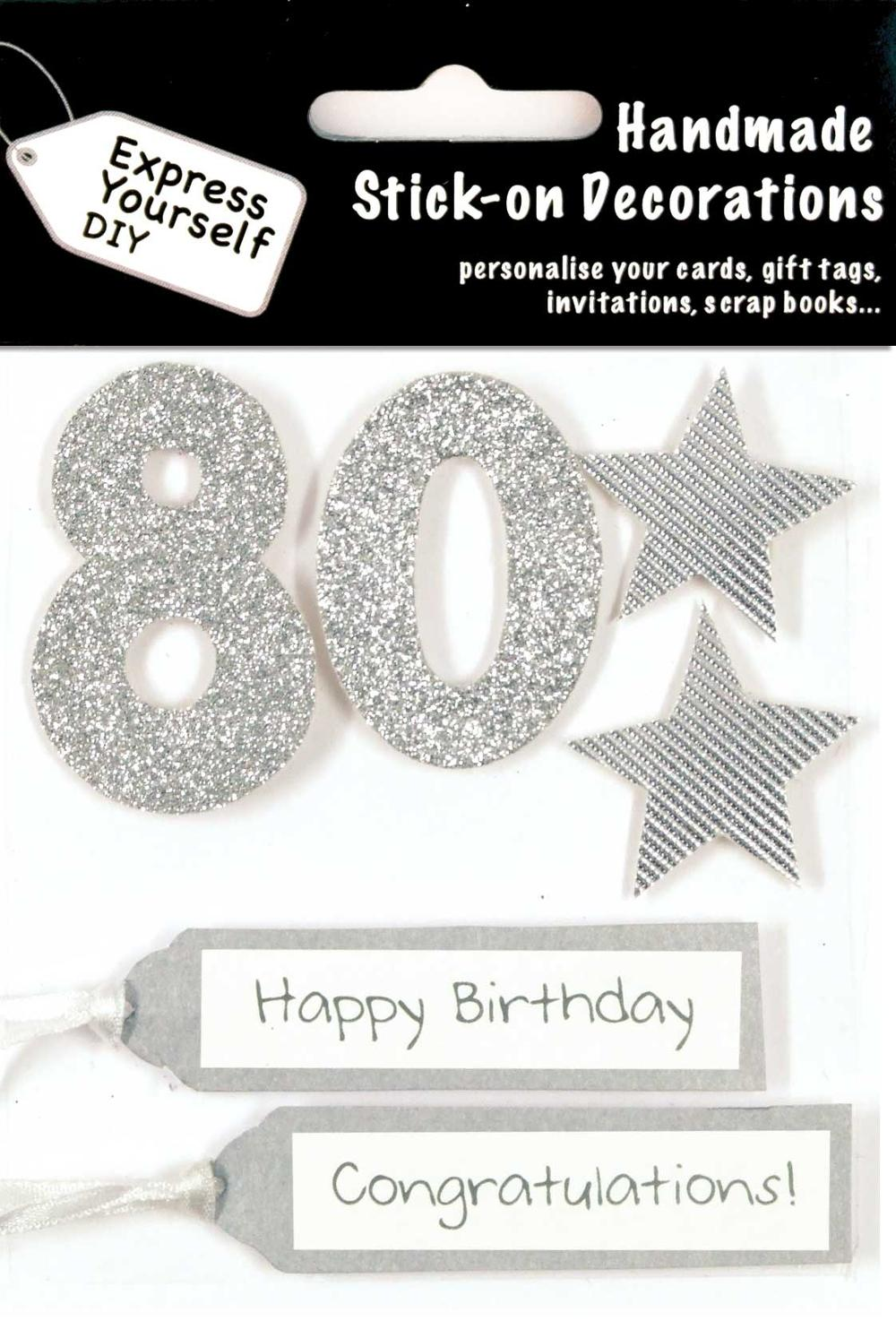 Silver 80th Birthday DIY Greeting Card Toppers