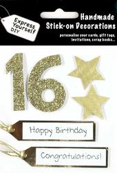Gold 16th Birthday DIY Greeting Card Toppers