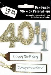 Gold 40th Birthday DIY Greeting Card Toppers