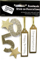 Gold 50th Birthday DIY Greeting Card Toppers