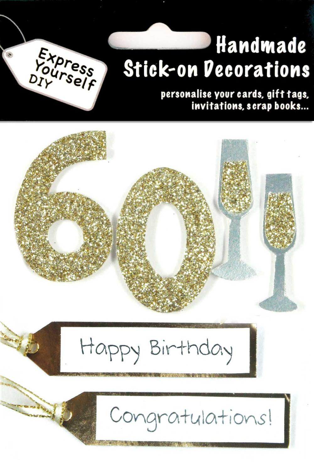 Gold 60th Birthday DIY Greeting Card Toppers