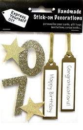 Gold 70th Birthday DIY Greeting Card Toppers