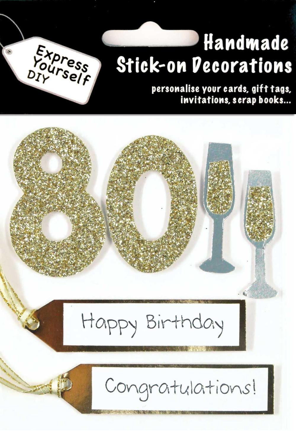 Gold 80th Birthday DIY Greeting Card Toppers