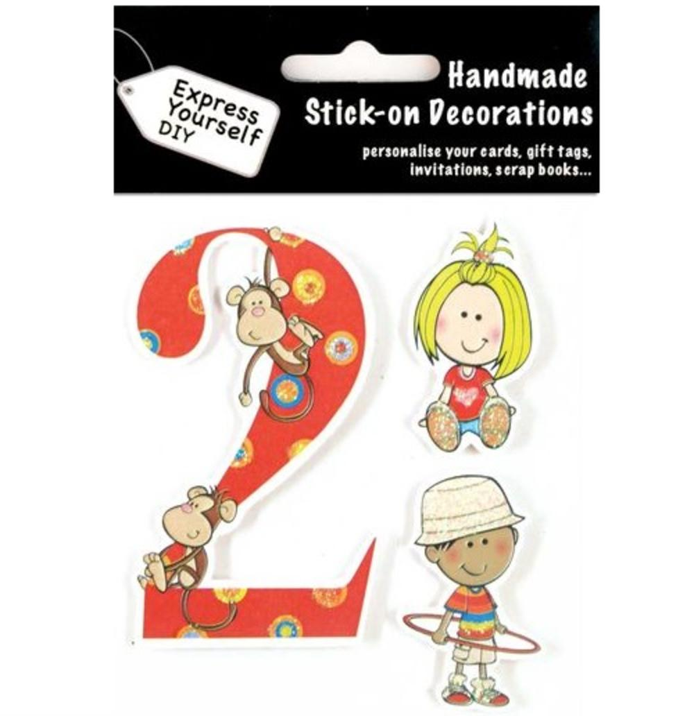 Child's Number 2 Birthday DIY Greeting Card Toppers