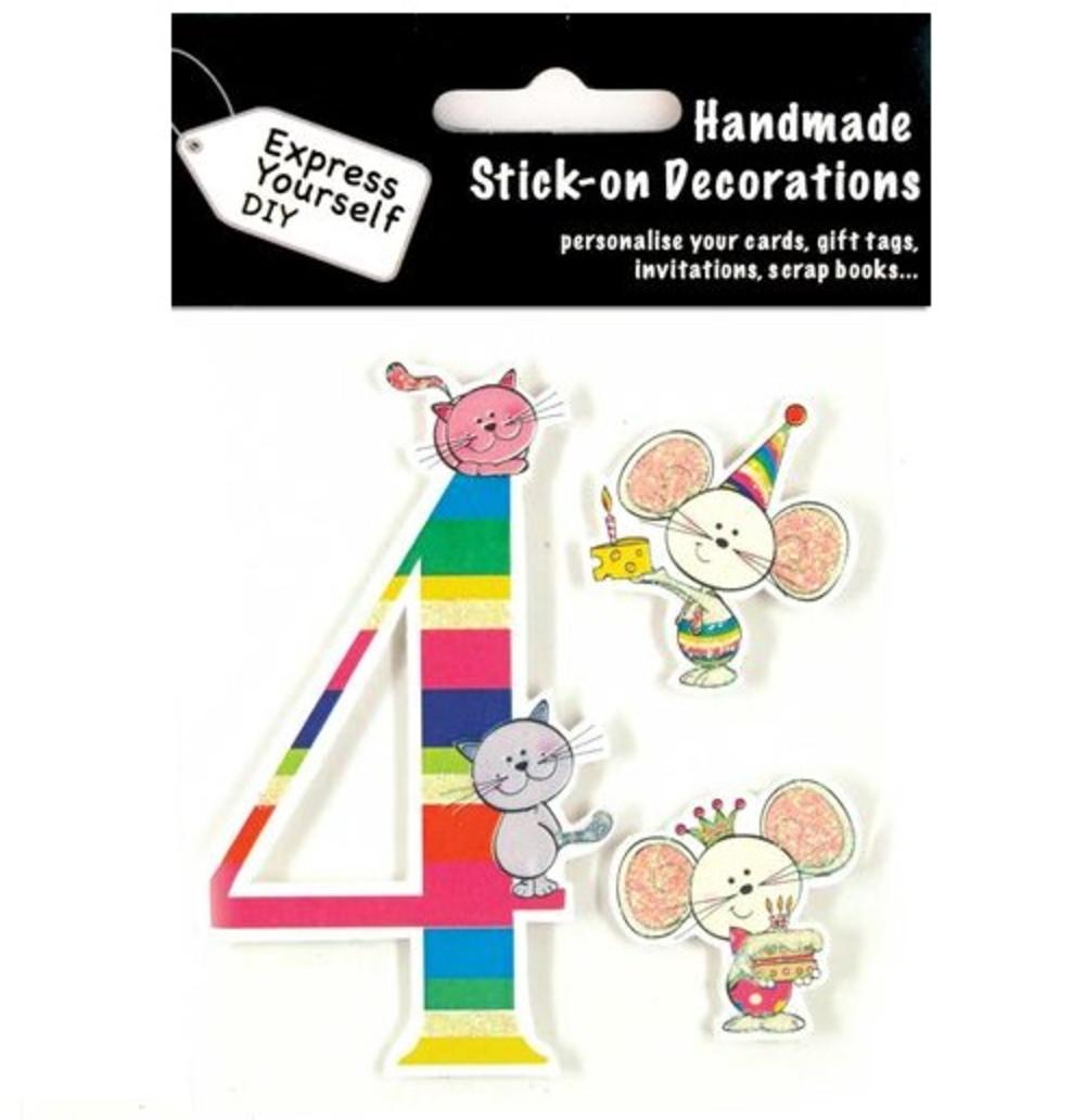 Child's Number 4 Birthday DIY Greeting Card Toppers