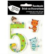 Child's Number 5 Birthday DIY Greeting Card Toppers