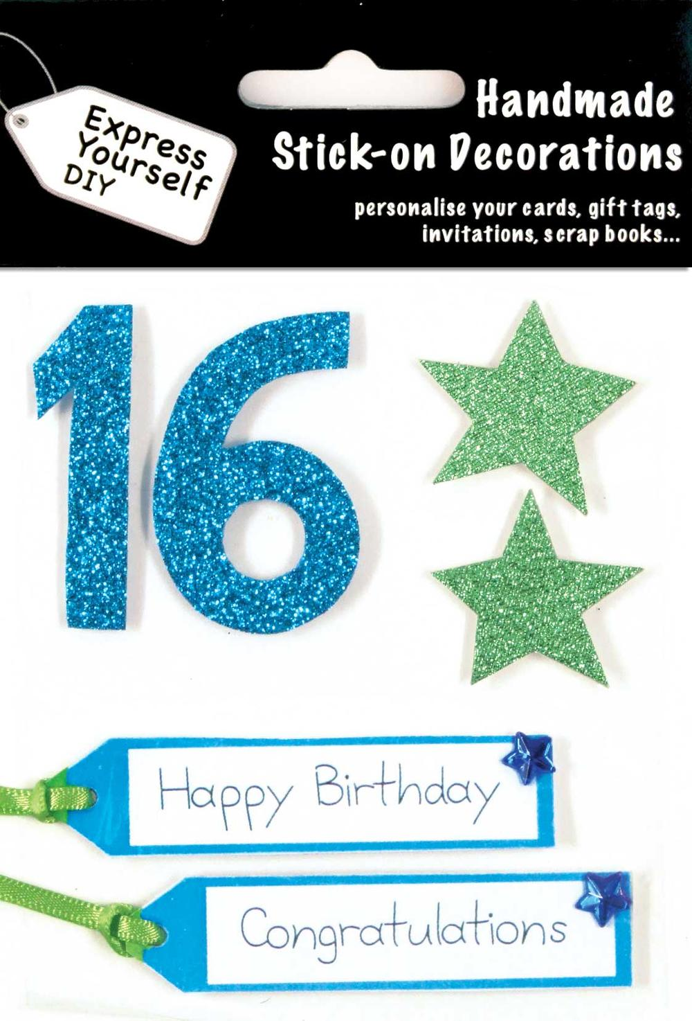 Blue 16th Birthday DIY Greeting Card Toppers
