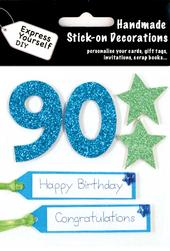 Blue 90th Birthday DIY Greeting Card Toppers