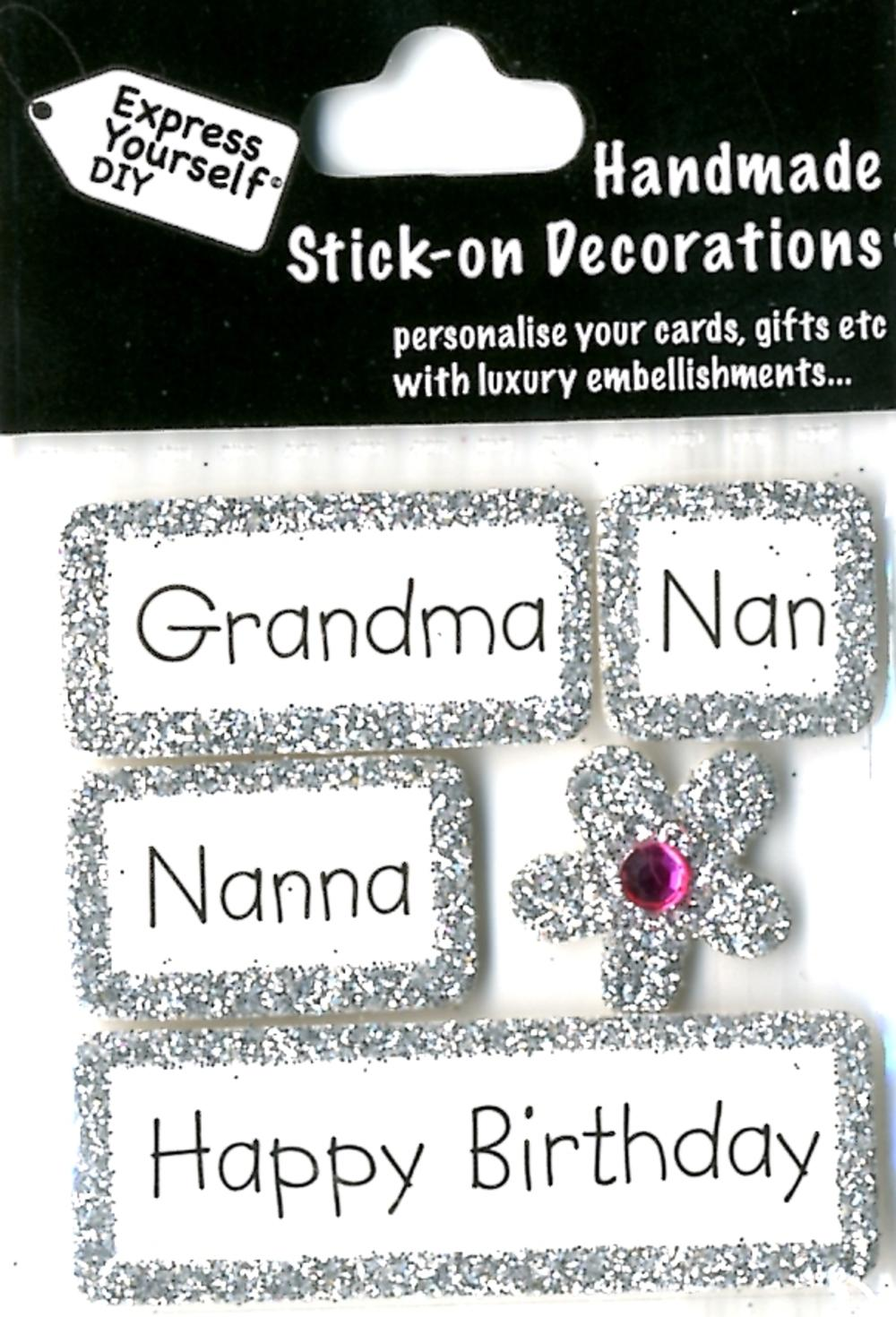Happy Birthday Grandma Nan Nana DIY Greeting Card Toppers