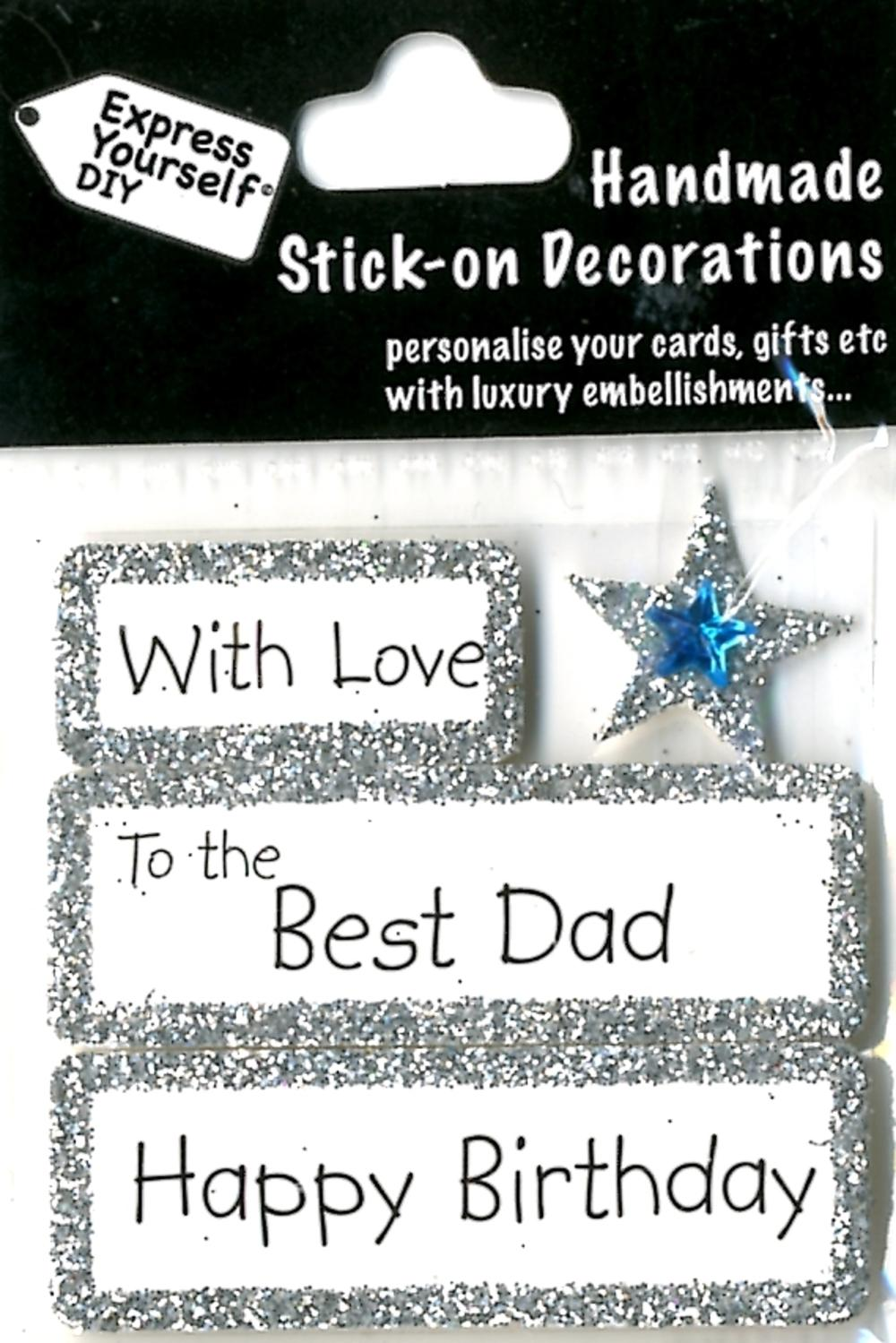 Happy Birthday Best Dad DIY Greeting Card Toppers