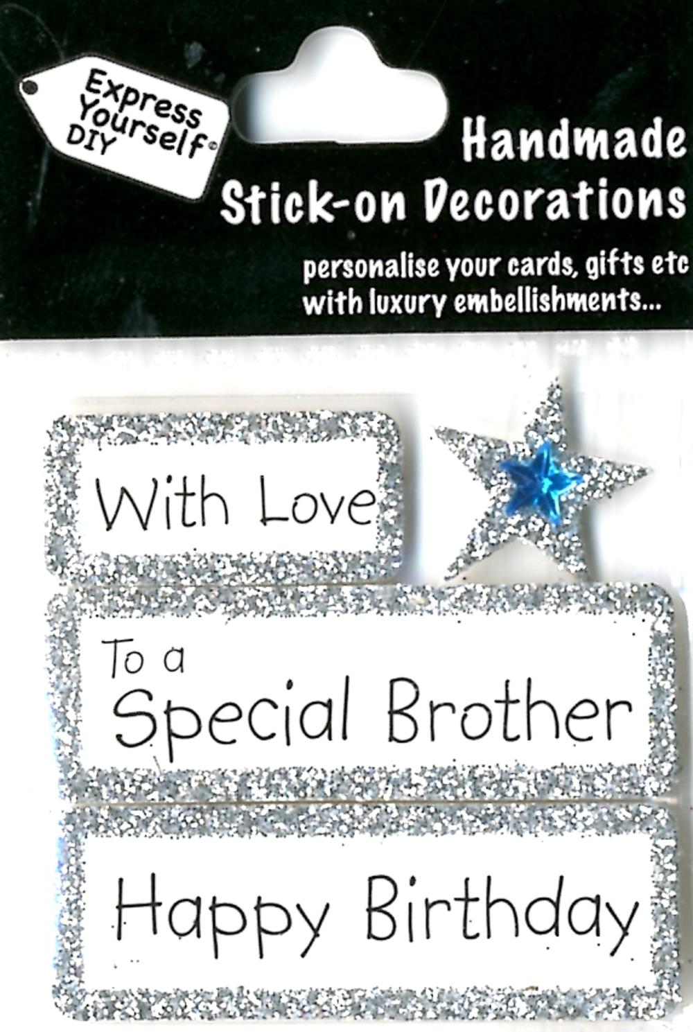 Happy Birthday Special Brother Diy Greeting Card Toppers Gift