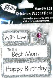 Happy Birthday Best Mum DIY Greeting Card Toppers
