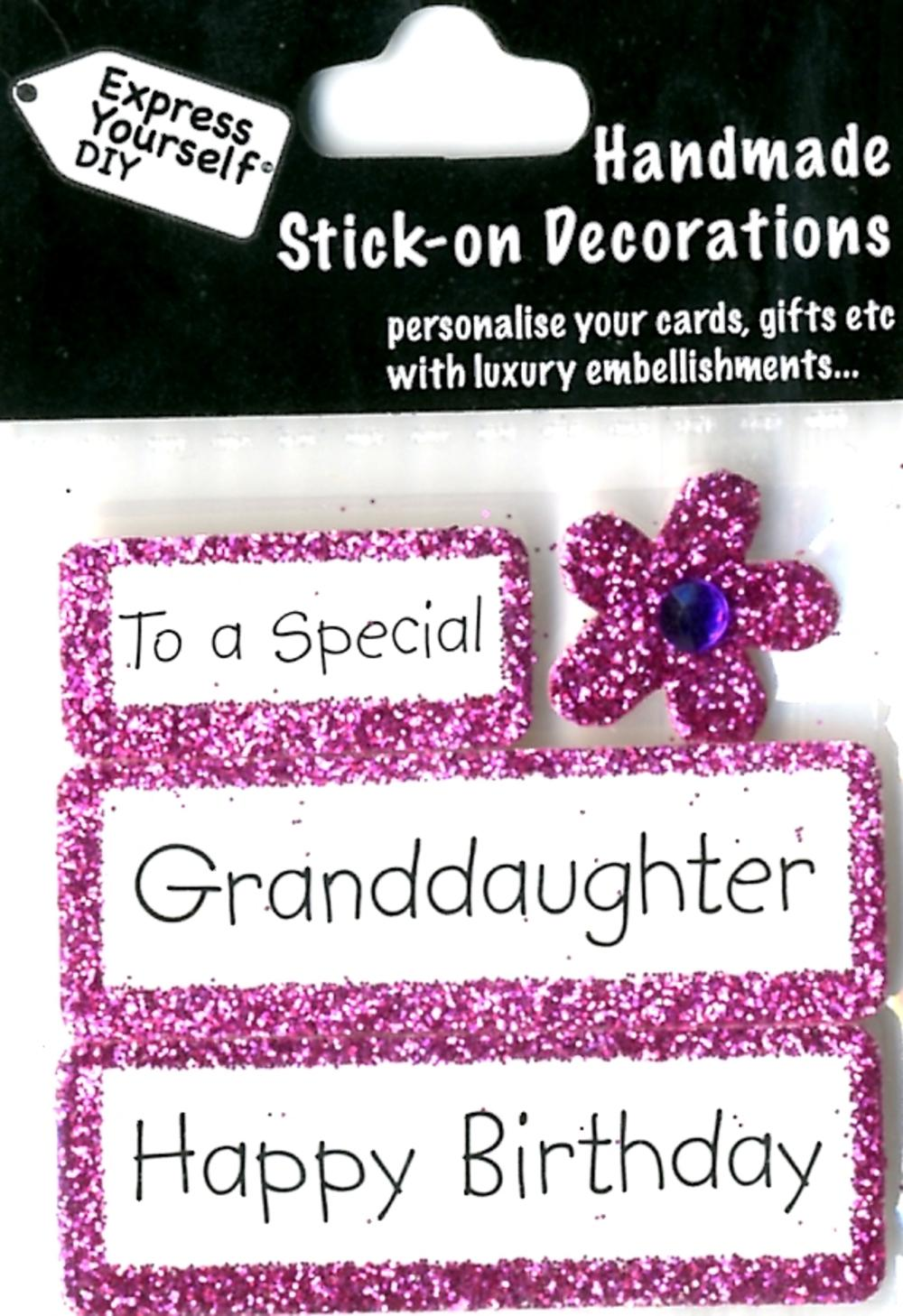 Happy Birthday Granddaughter DIY Greeting Card Toppers