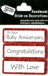 Congratulations Ruby Anniversary DIY Greeting Card Toppers