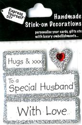 Hugs To A Special Husband DIY Greeting Card Toppers
