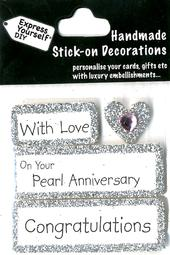 Pearl Anniversary Congratulations DIY Greeting Card Toppers