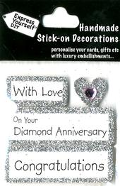 Congratulations Diamond Anniversary DIY Greeting Card Toppers