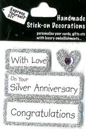 Congratulations Silver Anniversary DIY Greeting Card Toppers