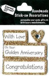 Congratulations Golden Anniversary DIY Greeting Card Toppers