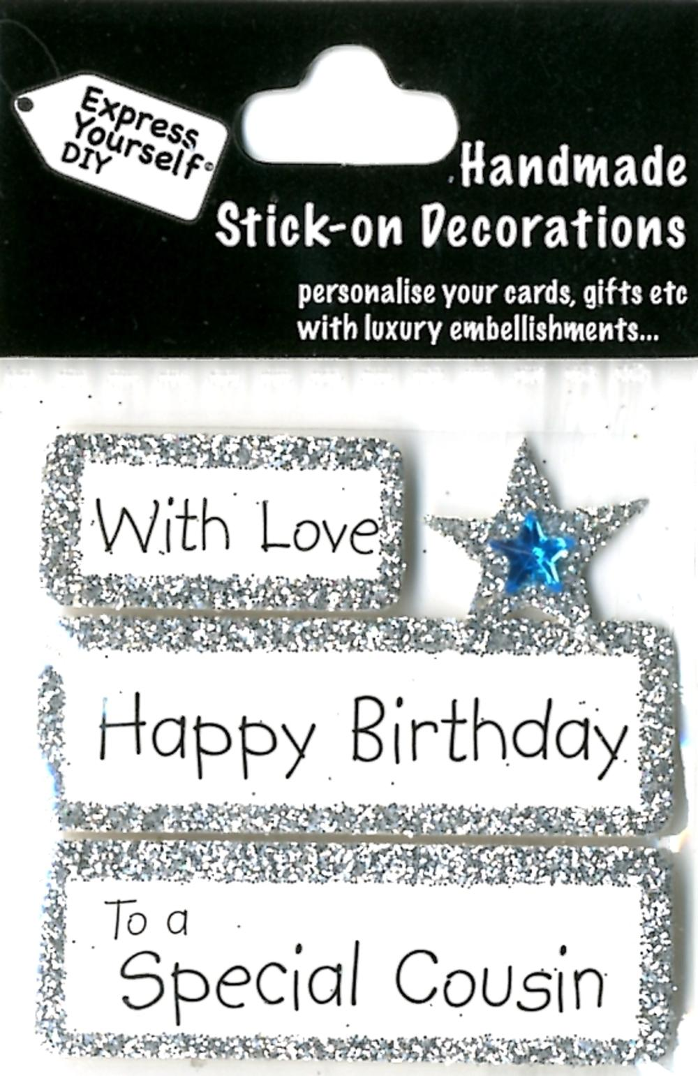 Happy Birthday Special Cousin DIY Greeting Card Toppers