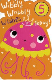 Girls Happy 5th Birthday Greeting Card With Badge