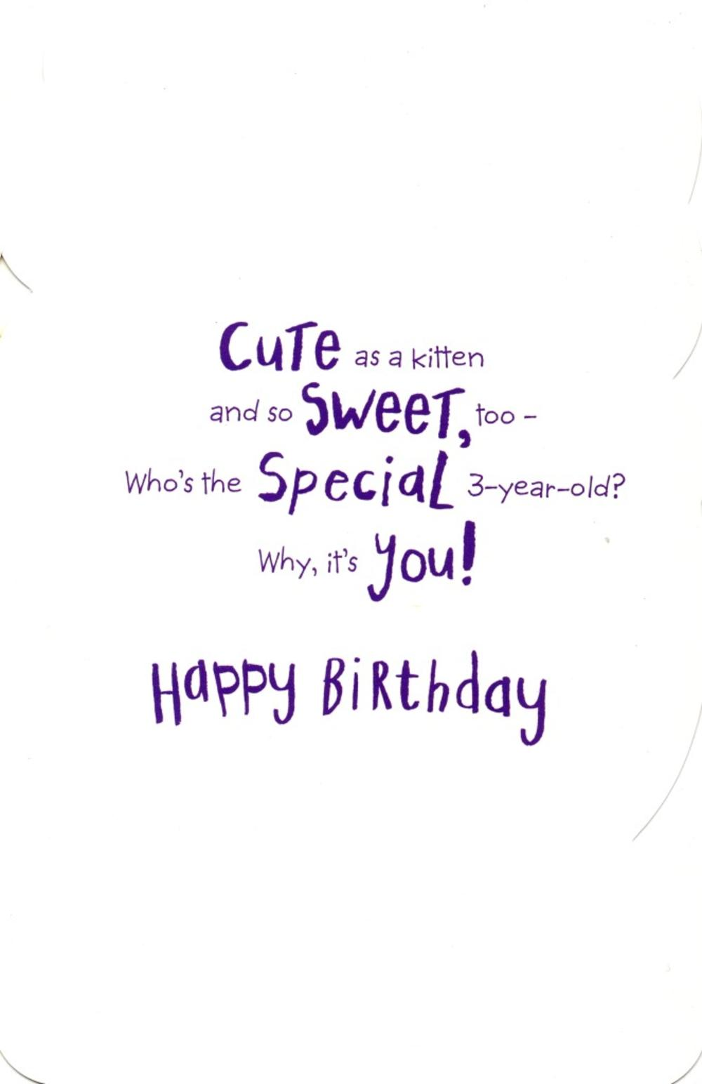 Girls Happy 3rd Birthday Greeting Card With Badge