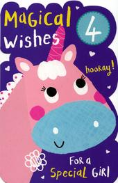 Girls Happy 4th Birthday Greeting Card With Badge