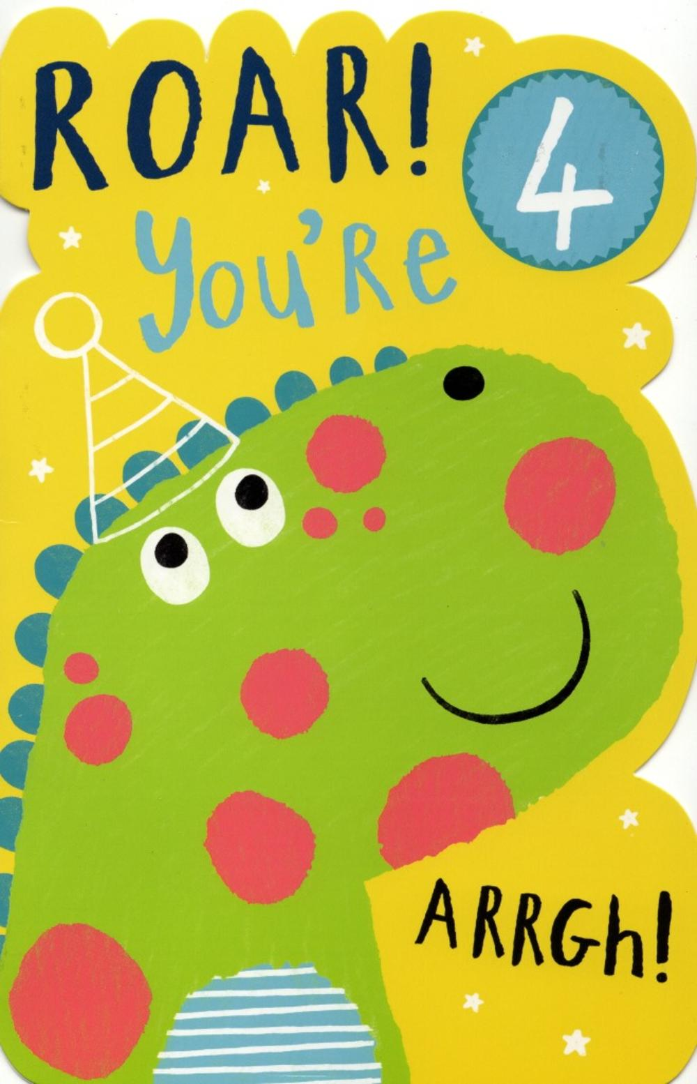 Boys Happy 4th Birthday Greeting Card With Badge