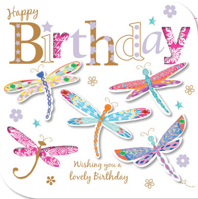 Handmade Dragonflies Happy Birthday Greeting Card