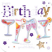 Handmade Drinks Glasses Happy Birthday Greeting Card