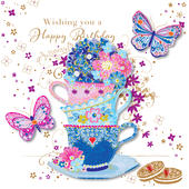 Handmade Tea Cups Happy Birthday Greeting Card