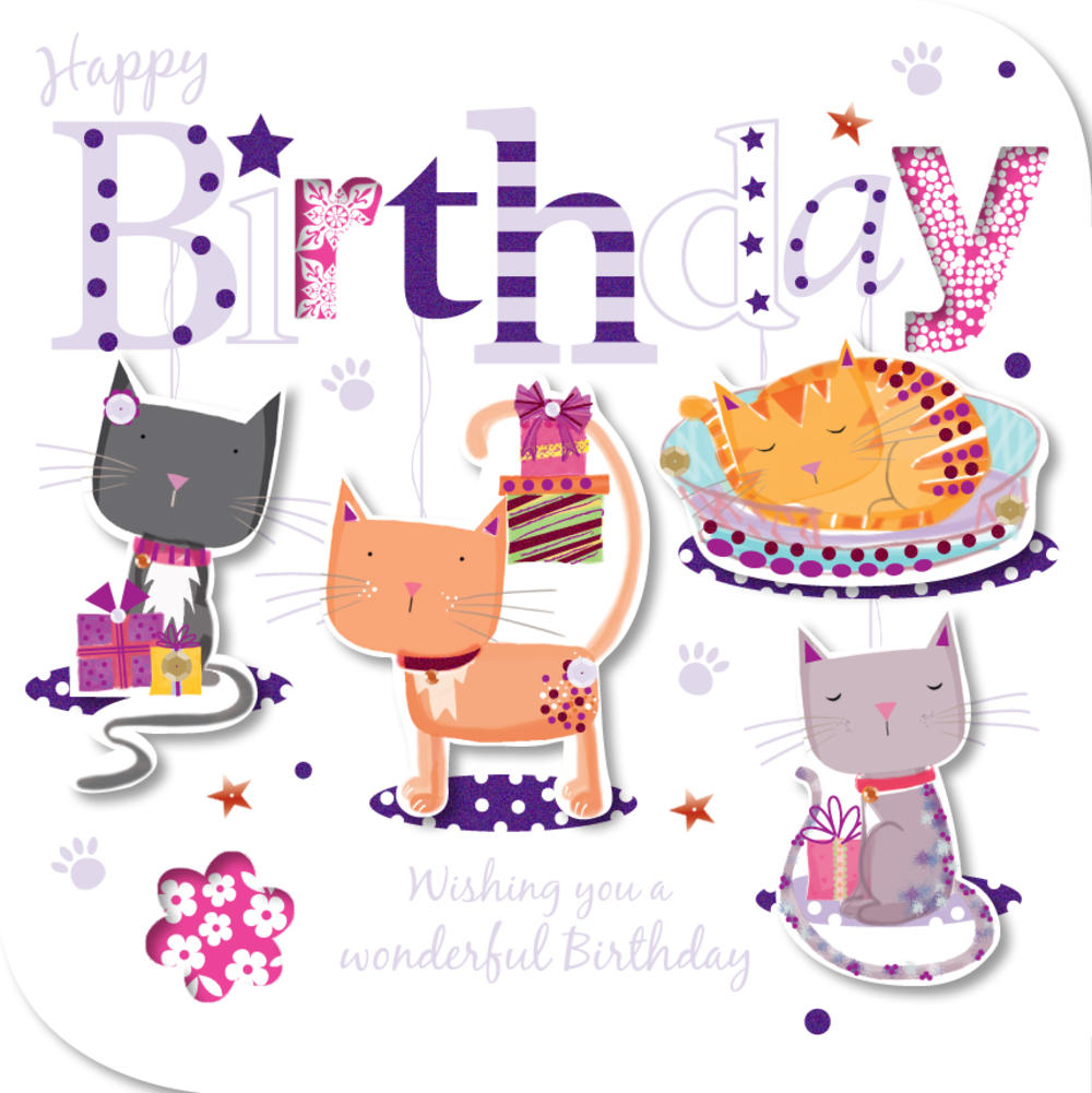 Handmade Cats Happy Birthday Greeting Card