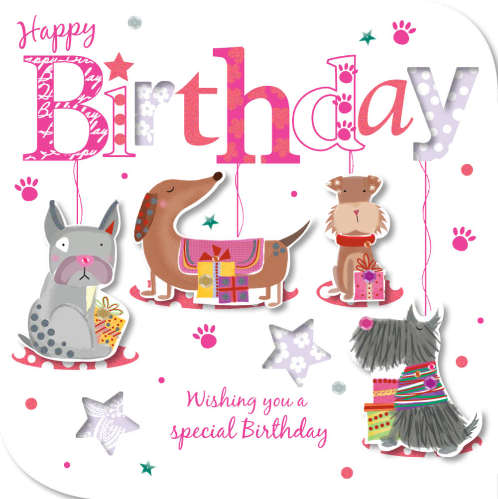 Handmade Dogs Happy Birthday Greeting Card
