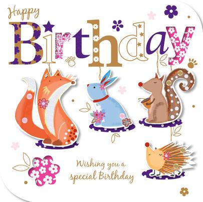 Handmade Animals Happy Birthday Greeting Card