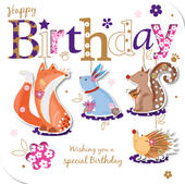 Handmade Animals Happy Birthday Greeting Card