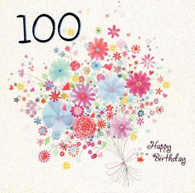 One Hundred Happy 100th Birthday Greeting Card Cards – 100 Birthday Card