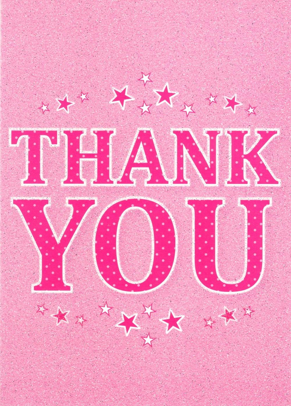 Thank You Pink Glittery Greeting Card Cards Love Kates