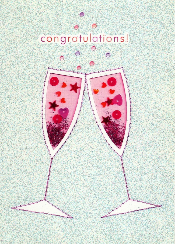 Congratulations Glitter Flittered Greeting Card