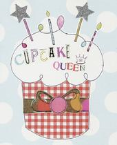Cupcake Queen Paper Salad Birthday Card